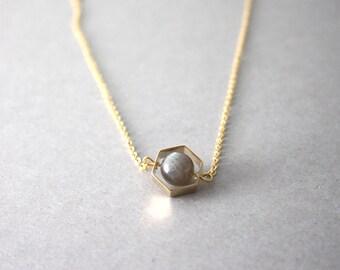 Hexagon Necklace, Crystal Hexagon Necklace,  Labradorite Hexagon Necklace, Grey