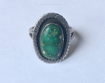 vintage sterling and green turquoise ring, size 6.5