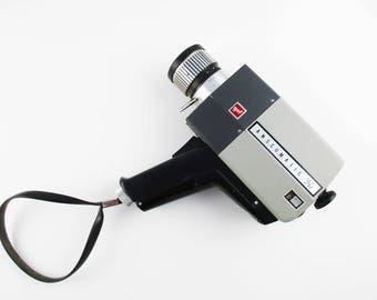 A 'GAF Anscomatic ST/87' Super 8 Movie Camera - Chinon Reflex Zoom Lens - All Metal Grey to Black Movie Camera -