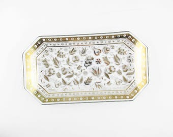 Small Georges Briard Glass Tray With Upturned Corners - 'Persian Garden' Pattern in Burnished Gold - Dot and Dot Rim Pattern