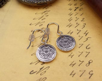 Handcrafted Florin Rose Earrings On Sterling Silver Earwires