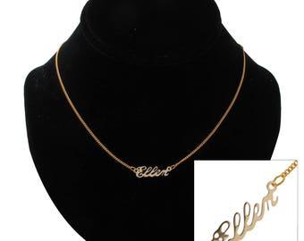 """Script Name Ellen Charm Pendant Gold Tone Necklace 16"""" Vintage 70s"""