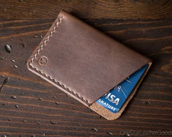 The Minimalist: micro card wallet, business card case, Horween Chromexcel leather - natural color