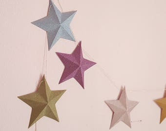 "The paper Garland sparkly ""9 magic stars"""