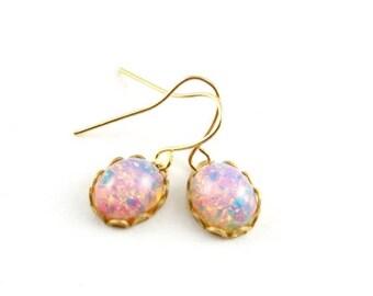 25% OFF SALE Harlequin Opal Dangle Earrings, Tiny Fire Opal Earrings, Faux Opal Drop Earrings
