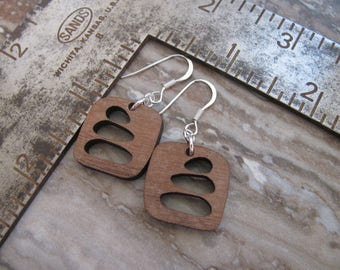 Walnut Wood Cairn Earrings, Silver Ear Wires, Stacked Rocks, Trail Marker,  Toniraecreations