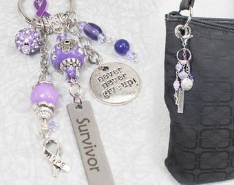 Hodgkins Lymphoma Keychain Charm (Purple) / Lymphoma Purse Charm / Cancer Awareness Collection