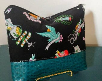 Sewing Tattoo Fabric Pouch Make Up Bag