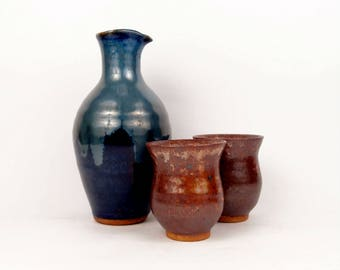 Sake bottle set in jewel blue with 2 cups in rustic copper