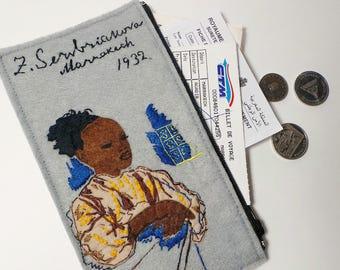 Vegan Women's Wallet, Serebriakova women clutch wallet, zipper wallet, hand embroidered purse