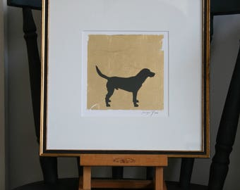 Hand painted Labrador pen and ink silhouette on gold leaf on paper.