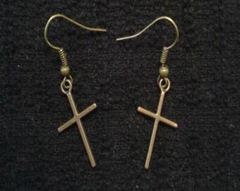 Bronze Cross Crucifix Earrings Dangle and Drop
