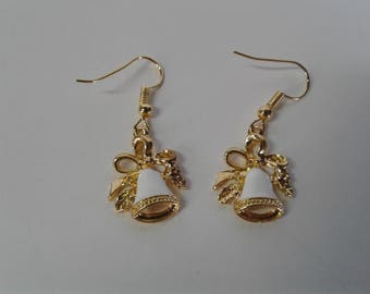 Handmade Earrings featuring Christmas Bells in White and Gold Dangle and Drop