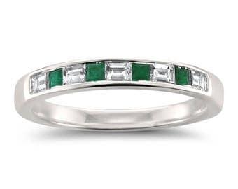emerald wedding band etsy