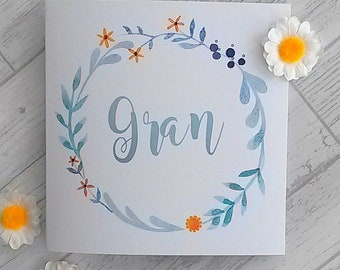 Gran's birthday card,Card for Gran,Granny,floral card,pretty card, card for grandmother,botanical,illustrated flowers,special,ultraviolet