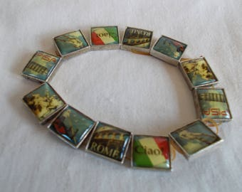 Vintage Stretch Bracelet Scenes of Rome For Crafts //8