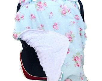 Custom Order HT • Girl's Car seat Canopy • Girls • Carseat Cover • Carseat Tent • Shabby Chic • Rose • Blue Pink • Baby Shower Gift •