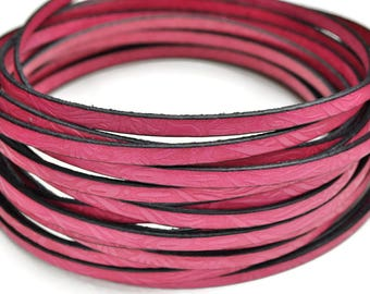 5MM Floral Embossed Leather - Pink Passion - High Quality Leather Cord - 2ft/24""