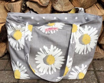 Grey daisy Large tote bag, beach bag, shopping bag, holiday bag, daisy yellow and grey fabric, days out bag, gym bag