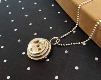 Button Pendant- Little Button Necklace- Alice Button Pendant