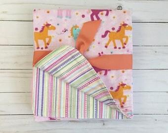Flannel blanket - Double layer flannel blanket - receiving blanket - baby blanket - ponies - baby gift - flannel - stripes