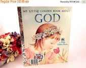 Little Golden Book About God Vintage 1980's Children's Book Preschool Toddler Picture Spiritual Religious Christian Story