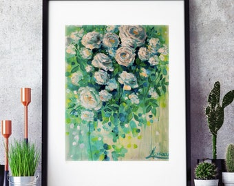 Bedroom wall decor- floral prints-green-wall art- flowers-art prints- abstract art-floral painting print- floral art work-floral art work