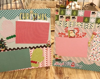Two premade Christmas scrapbook pages