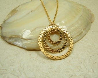 Gold necklace, Circles pendant, Long necklace, Statesman necklace, Gold plated necklace, Wedding jewelry, Bridesmaid gift, Gift for her