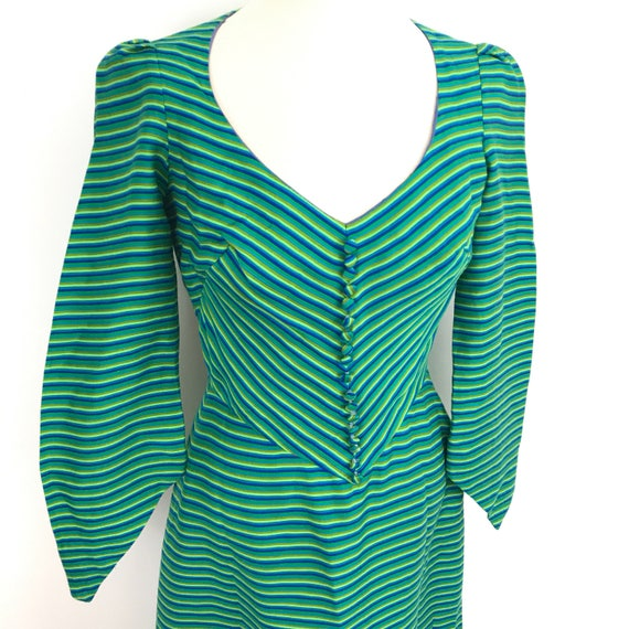 vintage dress 1970s medieval style maxi dress green blue striped chevron A line long flared sleeves UK 10 Middle Ages 70s miss novell