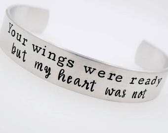 Memorial Jewelry, Your wings were ready, my heart was not, loss of a loved one, grief grieving lost child lost parent death memory, mourning