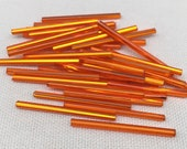 10g Vintage Metallic Orange Czech Bugle Glass Beads 35mm