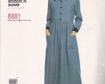McCalls 8881 Vintage Pattern Womens Pull Over Dress Size 8,10,12,14 UNCUT
