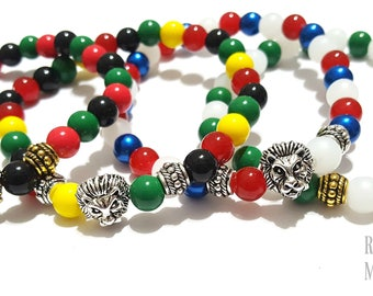 Men's Beaded Bracelets, Country bracelets, Nigeria, Puerto Rico, Pan Africa, Jamaica, Men's Gifts, Stretchy Custom Handmade Beaded Jewelry