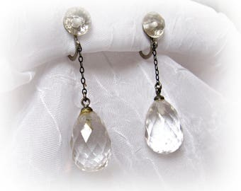 Art Deco Crystal Teardrop Earrings, Silver, Clear Faceted Rock Crystal Quartz, Vintage Screw Back Dangle Drop Earrings