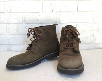 Vintage Womens 8.5 Olive Leather Hiking Boots