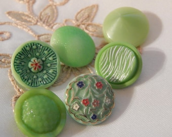Lime Green Vintage Glass Buttons - 6