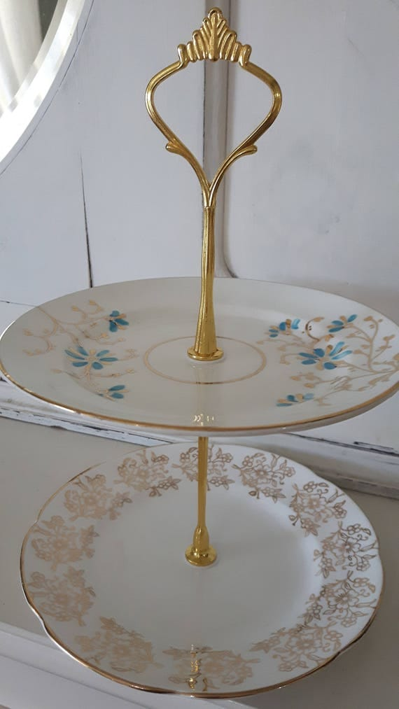 Vvintage china cake stand, trinket stand, delightful blue and gold floral design