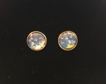 12mm Blue Hydrangea Flower Stud Earrings