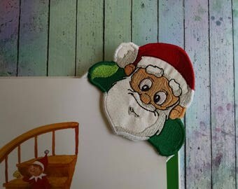 Embroidered Santa Corner Bookmark
