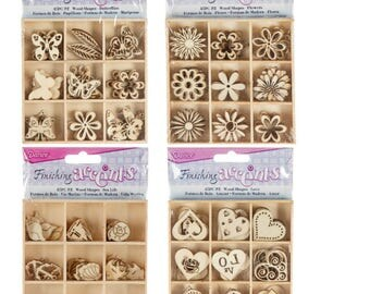 Darice Small Wooden Craft Shapes Bundle - Butterfly Theme 45 pcs., Flower Theme 45 pcs., Sea Life Theme 45 pcs. & Hearts Theme 45 pcs.