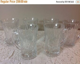 4th of July sale Set of Six Aderia Glasses Six Coffee Mugs With Handles by Aderia Japan Cut Glass Coffee Mugs