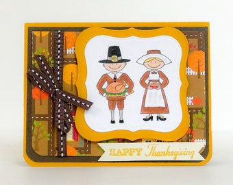 Handmade Thanksgiving Card, Fall Greeting Card, Pilgrim Card, Thankful Card, Give Thanks, Hand Stamped Thanksgiving Card,