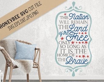 Land of the Free svg eps dxf jpg png cut file for Silhouette and Cricut type cutting machines