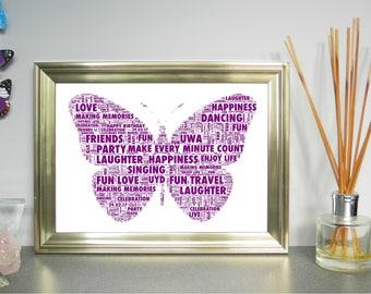 Personalised Butterfly Word Art Print. FREE UK P&P. Christening, Birthday, New Baby, Nursery Wall Art. ,