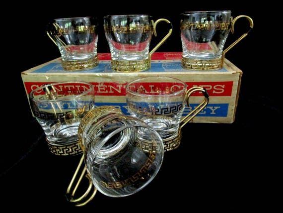 Libbey Continental Coffee Cups, Set of 6, Glass with Metal Holders, Greek Key Design, with Box and Inserts