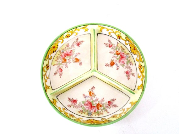Antique Dresser Tray, Divided Jewelry Dish, Soap Dish,  Spring Florals, Hand Painted, Modern Farmhouse, Cottage Decor