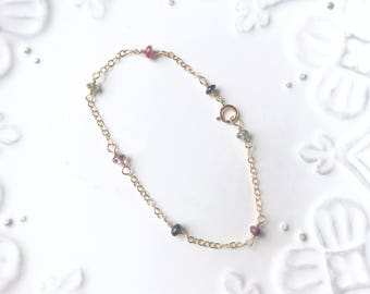 Watermelon Tourmaline Bracelet / Gold Filled or Sterling Silver, Thin, Delicate, Layer / Anabel Nove