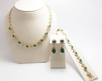 Jackie Kennedy Emerald Green Set - 3 pc with Box and Certificate