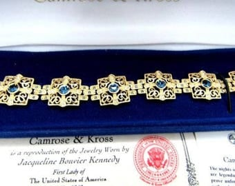 Jackie Kennedy GP Bracelet with Simulated Sapphires and Diamonds, Box and Certificate - Sz 7 or 8